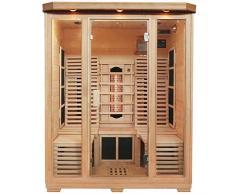 Artsauna Infrarotkabine Helsinki 150 Triplex-Heizsystem & 2 Liegen | 3 Personen | Hemlockholz | 150 x 150 cm | 2750 Watt | Infrarot-Sauna Wärme-Kabine