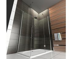 Duschkabine / Echtglas Eck Dusche / Duschkabine mit Antikalk / Wannenmaß ca. 140 x 80 cm / klares Sicherheitsglas / / Höhe der Dusche ca. 195 cm / Duschkabine
