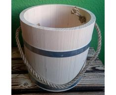Holz Eimer - klein 5 Liter Wassereimer Seil Tau Holzeimer Sauna Kübel Gefäß Garten
