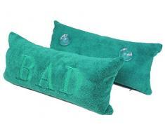 Emanhu Trading Mikrofaser Badewannenkissen vers. Farben 40x20cm Reise-Kissen Auto-Kissen Kissen mit Saugnäpfen und Bezug (Abnehmbarer Bezug mit Reißverschluss) (Blau-Türkis)