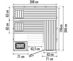 Well Solutions® Massivsauna Aura 208 x 206 cm mit Glaselement Saunakabine