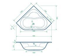 Acryl Badewanne Wanne Eckwanne Eckbadewanne 140 x 140 inklusive Ablauf und Überlauf und Träger