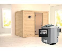 Karibu 75849 Massivholzsauna 40 mm Wandstärke Sonara (Fronteinstieg) Ofen 9 kW Bio externe Strg modern