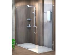 Sprinz Inloop Walk-In-Dusche Seitenwand mit Festelement und separater Seitenwand, rahmenlos mit eckiger Befestigung, Abmessungen Breite A: bis 100 x 210 cm, Breite B: 30 - 60 cm, Breite C: 80 x 120 cm