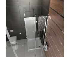 Duschabtrennung 100x100 Trennwand Duschwand Alpenberger Echtglas Eckeinstieg Klappbar Drehtür Dusche Komplett 100x100 x 200 cm Duschkabine Duschabtrennung aus Sicherheitsglas / inkl. Glasveredelung