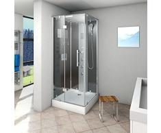 AcquaVapore DTP6038-2302L Dusche Dampfdusche Duschtempel Duschkabine 100x100, EasyClean Versiegelung:OHNE 2K Scheiben Versiegelung