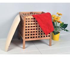 Badhocker mit Sitzkissen Sauna Badezimmer Sitz und Wäschekorb aus Massiv Walnuss Holz