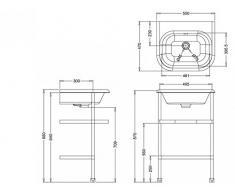 Casa Padrino Jugendstil Stand Waschtisch Naturstein Weiß / Edelstahl B 55cm - Art Deco Waschbecken Barock Antik Stil