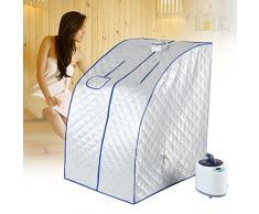 TMISHION - Tragbare Saunawanne, Saunakabine, zum Entschlacken von Körper und Gesicht, 2L-Dampfsauna-Zelt, Temperaturregelung mit Fernbedienung Eu