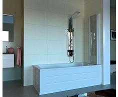 Echtglas Wannenaufsatz Badewannenaufsatz Venezia 3-teilig weiß