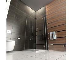 Duschkabine rahmenlos Duschabtrennung aus Sicherheitsglas Dusche Komplett Drehtür 80x80 x 200 cm Eckeinstieg /Höhe der Duschkabine ca. 200 cm / Klappbar Trennwand Duschwand