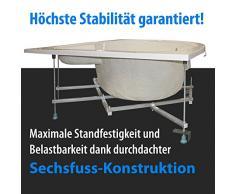 AQUADE stabile asymmetrische Eckbadewanne mit Untergestell 160 x 100 cm Rechts Modell: Mainz + Ab-Überlauf-Garnitur mit Zulauf + LED
