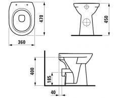 Laufen Stand-Tiefspül-WC erhöht auf 450 mm in pergamon, mit pflegeleichter Nanobeschichtung
