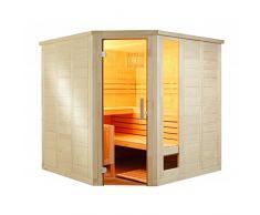 Komfort Corner 206x206x204cm Saunakabine Fichtenkabine mit Linden-Einrichtung ohne Technik