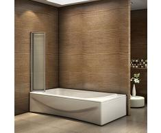 Badewannenaufsatz Duschabtrennung 120x140cm 5-teilig Duschwand für Badewanne Faltbar ESG Sicherheitsglas