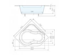 Badewanne 152x152 HOEDERA - Acryl ECKWANNE
