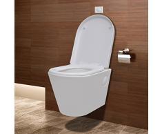 vidaXL Wand-Hänge WC / Toilette Klo Wandhängend Weiß