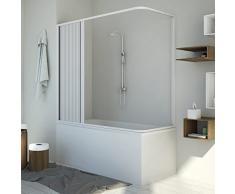 Badewannenaufsatz Duschkabine in PVC 140x70 CM H150 mod. Santorini Seitlich