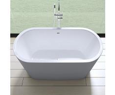 Elegante Design Badewanne Vicenza505, freistehend in weiß, BTH: 175x80x65 cm