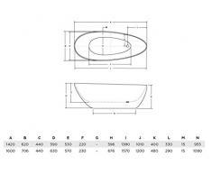 EXCLUSIVE LINE Freistehende Badewanne GOYA 160x70 cm, Schwarz Ovale Standbadewanne Mineralguss Schwarz