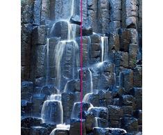 plateART Eck Duschrückwand, Rückwand Dusche Alu,Fliesenspiegel, Fliesen, Basalt Prismen Wasserfall