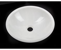 Waschbecken Waschschale rund 100% weiss Marmor Aufstazwaschbecken Handwaschbecken Naturstein, Durchmesser 34-35cm