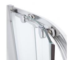 Hudson Reed Hutton Duschkabine - Versetzte Rund-Dusche mit Schiebetüren aus Sicherheitsglas inkl. Duschtasse und Ablauf 1200 x 900 mm Rechtsbündig