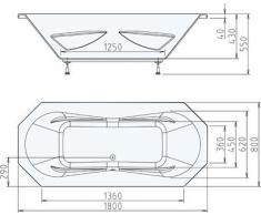 Eck Badewanne Funda 180 x 80 cm weiß Acryl Komplettset mit Wannenträger und Ablaufgarnitur