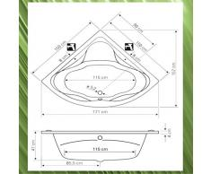 Badewanne 150x150 DUNA - Acryl Eckbadewanne - EXTRA TIEF 47 cm