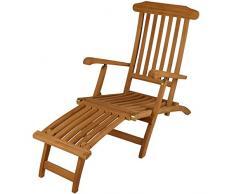 DIVERO GL05151 Liegestuhl, Deckchair, Steamer, Klappsessel, Holzliege Florentine Fußteil, Teak Holz mit Armlehnen für Garten, Terrasse, Balkon, Sauna, witterungsbeständig behandelt massiv natur