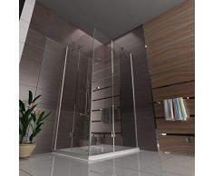 Alpenberger Eckeinstieg Antikalk Duschkabine 120 x 90 x 195 cm | Eck-Dusche mit 2 Türen zuverlässiges Einscheiben-Sicherheitsglas (6mm) | Innenbündige Scharniere&integrierter Hebe-Senk-Mechanismus