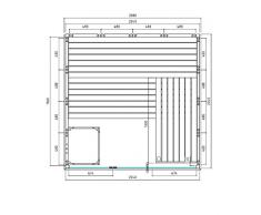 Sauna mit Glasfront Massivholz 208 x 206 x 204 cm Blockbohle 40 mm