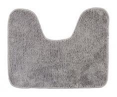 WENKO 22342100 WC-Vorleger mit Ausschnitt Grey, Polyester, 40 x 50 cm, Grau