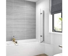 EMKE Duschabtrennung 110x140cm Faltwand für Badewanne, Duschwand Badewannenaufsatz mit 6mm Nano Easy Clean Glas