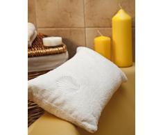 Nackenkissen mit Saugnäpfen als Reisekissen oder Wannenkissen aus weichem Microfaser Kissen für Badewanne Aufschrift Wellness Weiss
