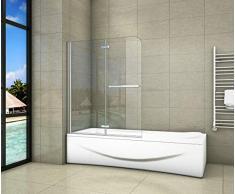 Aica Sanitär Badewannenaufsatz Duschabtrennung 100x140cm 2-teilig Faltbar Duschwand für Badewanne mit Handtuchhalter