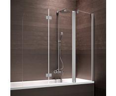 Schulte Badewannenaufsatz Duschabtrennung Badewanne 3 teilig mit Festelement, 150x140 cm, Sicherheitsglas klar beschichtet, Profile chrom-optik, Triplex