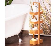 Relaxdays HBT 88,5 x 25,5 x 18,5 cm Praktisches Badezimmerregal als Ablageständer mit 4 Körben Butler Korbregal aus natürlichem Holz für Badezimmer und Feuchträume, Natur Bambus Badregal