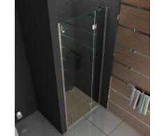 Nischen Tür Echtglas / rahmenlose Duschabtrennung / Nischentür ca. 80 x 200 cm / Modell 80 / Duschabtrennung aus Sicherheitsglas mit Glasveredelung / Walk in Dusche