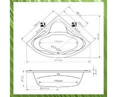 Eckbadewanne DUNJA 150x150x47cm, weiß, mit Wannenfüssen und Wandankern