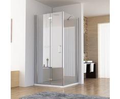 80 x 70 x 197 cm Duschkabine Eckeinstieg Dusche Falttür Duschwand mit Seitenwand NANO