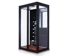 Home Deluxe - Dampfdusche - Black Luxory XL - Maße: 120 x 90 x 220 cm - inkl. komplettem Zubehör und Sitzgelegenheit aus Acrylglas