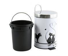 MSV 100563 Kosmetikeimer Katze Mülleimer Treteimer Abfalleimer - 3 Liter – mit Herausnehmbaren Inneneimer