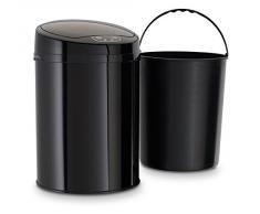 ECHTWERK® EW-BE-0249 Edelstahl Büro-/Bad-/Kosmetikabfalleimer 9L MIT IR SENSOR - INOX BLACK Mülleimer Papierkorb