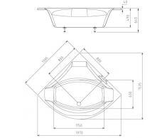 Eck Badewanne Rosalie 140 x 140 cm weiß Acryl Komplettset mit Wannenträger und Ablaufgarnitur