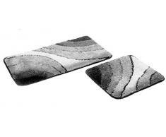 """FD-Workstuff Badematten-Garnitur """"Sliding-Wave"""" │ grau │ 2 Teile │ Badvorleger 50 x 90 cm │ WC-Vorleger 50 x 45 cm (ohne Ausschnitt) │ Bad │ Badewannen- / Toiletten-Vorleger │ by"""