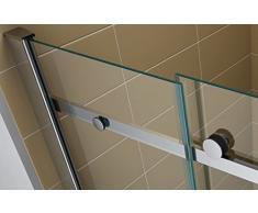 Schiebetuer Eckdusche Duschkabine Eckeinstieg mit Rollsystem aus Sicherheitsglas (ESG) 200 cm hoch #88 (100cm X 100cm Ohne Wanne)