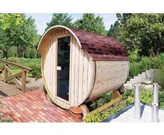Karibu Fass - Sauna 1 42 mm inkl. 9-kW-Ofen - Saunahaus Außenmaß Haus (B x T): 205 x 174 cm Innenmaß Sauna (B x T): 196,5 x 170 cm Wandstärke Haus: 42 mm umbauter Raum: 4,5 cbm Bauweise: Blockbohlenbauweise Ausführung: naturbelassen