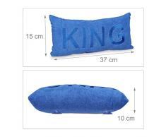 Relaxdays Badewannenkissen Mikrofaser KING HBT ca. 10 x 37 x 15 cm extra weiches Nackenkissen für die Badewanne mit 2 Saugnäpfen als Wannenkissen oder Reisekissen mit gesticktem Motiv, blau