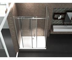 8 mm Designer Duschkabine Duschabtrennung Schiebetür Dusche Echt Glas 120 x 90 x 195 cm TELA ohne Duschtasse